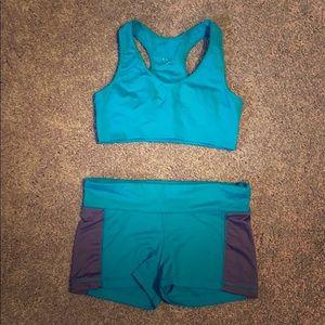 Teal Aeropostale Workout Bra and Shorts Medium